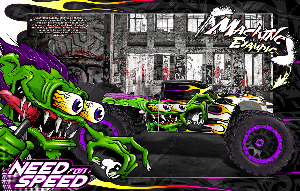 ARRMA KRATON 8s / 6s 'NEED FOR SPEED' GRAPHICS WRAP DECAL KIT FOR PRO-LINE BRUTE BASH UNBREAKABLE BODY