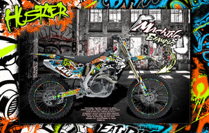 "HONDA 2004-2009 CRF250 GRAPHICS WRAP ""HUSTLER"" DECAL STICKER KIT WITH RIM GRAPHICS CRF250R - Darkside Studio Arts LLC."