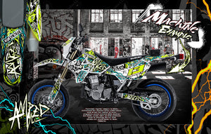 "SUZUKI 2000-2020 DRZ400 ""AMPED"" GRAPHIC KIT DECAL WRAP DRZ400SM - Darkside Studio Arts LLC."