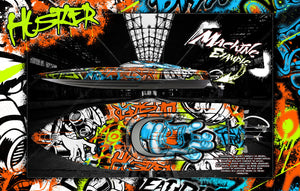 "PRO BOAT IMPULSE SHOCKWAVE SONICWAKE 36"" ZELOS 36"" (MISS GEICO) BOAT CUSTOM WRAP DECAL GRAPHICS KIT 'HUSTLER' - Darkside Studio Arts LLC."