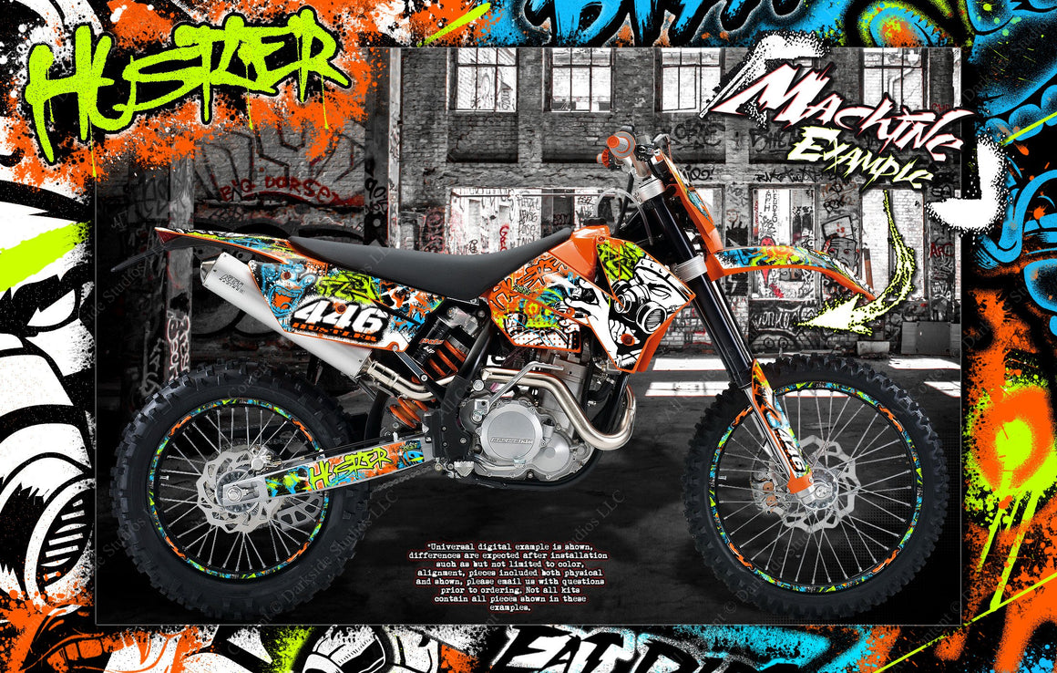 'HUSTLER' GRAPHICS WRAP DECAL KIT FITS KTM 2008-2011 EXC XCW XC 250 300 450 525 - Darkside Studio Arts LLC.