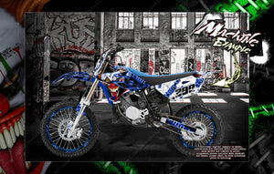 "YAMAHA 1993-2020 YZ65 YZ80 YZ85 ""STIFF UPPER LIP"" NUMBER PLATE AND FENDER WRAP WITH RIM PROTECTOR GRAPHICS - Darkside Studio Arts LLC."