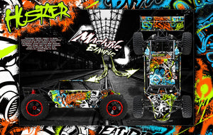 LOSI DESERT BUGGY XL / XL-E WRAP DECAL KIT 'HUSTLER' FITS LOS250018 AND LOS350000 - Darkside Studio Arts LLC.