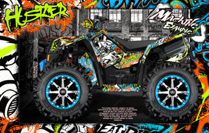 "LIFTED POLARIS SCRAMBLER 850 & 1000 ""HUSTLER"" GRAPHICS WRAP DECALS KIT FULL COVERAGE SET - Darkside Studio Arts LLC."