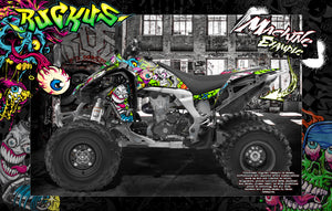 KAWASAKI KFX450R GRAPHICS WRAP DECAL KIT 'RUCKUS' FITS OEM PLASTICS / PARTS - Darkside Studio Arts LLC.