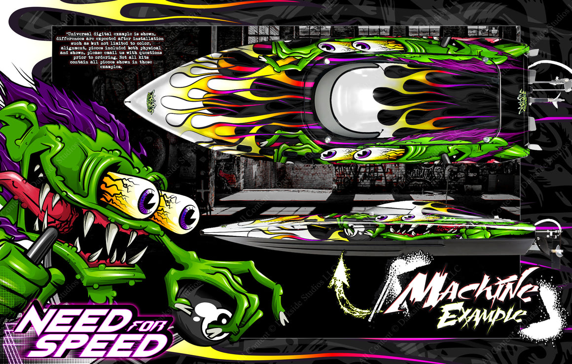 "PRO BOAT VELES IMPULSE SHOCKWAVE SONICWAKE 36"" ZELOS 36"" (MISS GEICO) BOAT CUSTOM WRAP DECAL GRAPHICS KIT 'NEED FOR SPEED' - Darkside Studio Arts LLC."