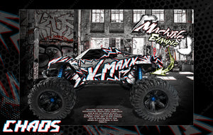 "TRAXXAS X-MAXX GRAPHICS WRAP DECALS ""CHAOS"" FITS PROLINE FORD RAPTOR, CHEVY SILVERADO, BRUTE BASH & STOCK BODY - Darkside Studio Arts LLC."