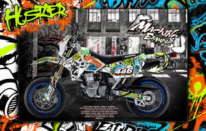 "SUZUKI 2000-2020 DRZ400 ""HUSTLER"" GRAPHIC KIT DECAL WRAP DRZ400SM - Darkside Studio Arts LLC."