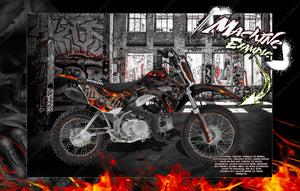"HONDA 2013-2020 CRF110F CR125F GRAPHICS DECALS ""HELL RIDE"" WRAP SKIN - Darkside Studio Arts LLC."