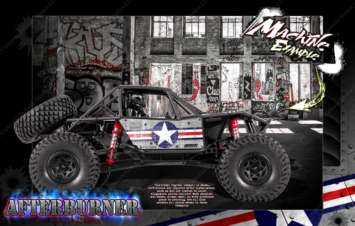 "AXIAL RR10 BOMBER GRAPHICS WRAP DECAL SKIN KIT ""AFTERBURNER"" KIT FITS OEM BODY AX90053 - Darkside Studio Arts LLC."