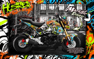 HONDA GROM 2013-2020 GRAPHICS WRAP 'HUSTLER' DECAL WRAP KIT FITS OEM PARTS MSX125 - Darkside Studio Arts LLC.