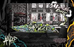 "PRO BOAT REACT 17"" / POWER BOAT RACER DEEP-V 17"" WRAP DECAL GRAPHICS KIT 'AMPED' - Darkside Studio Arts LLC."