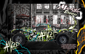 LOSI 5IVE-T / 2.0 STOCK AND 30° NORTH BIG FLEX BODY WRAP DECAL HOP-UP CUSTOM KIT PARTS 'AMPED' - Darkside Studio Arts LLC.