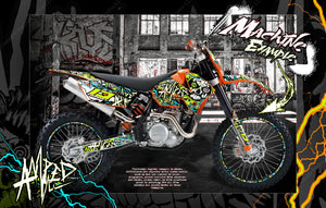 'AMPED' GRAPHICS WRAP DECAL KIT FITS KTM 2008-2011 EXC XCW XC 250 300 450 525 - Darkside Studio Arts LLC.