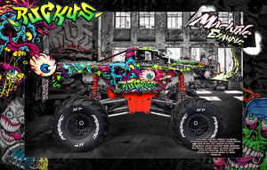 "PRIMAL RC RAMINATOR MONSTER TRUCK WRAP ""RUCKUS"" GRAPHICS HOP-UP DECAL KIT - Darkside Studio Arts LLC."
