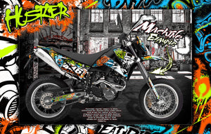 "KTM LC4 1998-2007 ""HUSTLER"" GRAPHIC KIT DECAL WRAP 640 SUPERMOTO SMC640 - Darkside Studio Arts LLC."