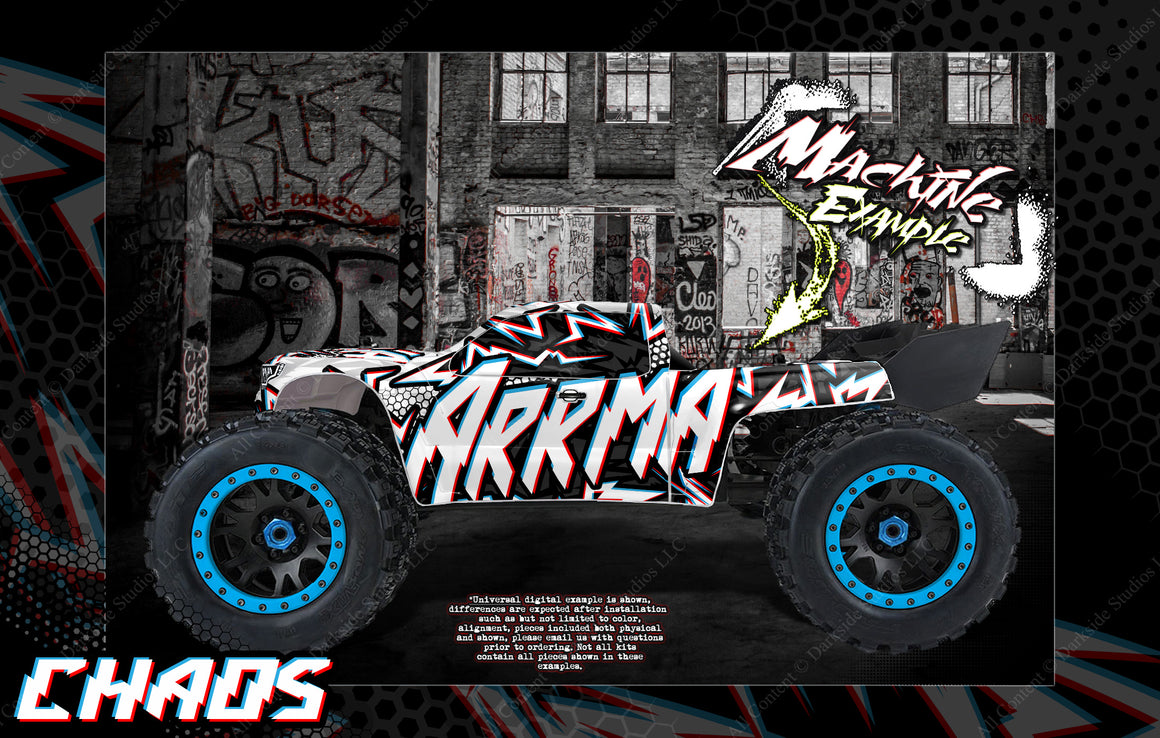 ARRMA KRATON 8s / 6s 'CHAOS' GRAPHICS WRAP DECAL KIT FOR PRO-LINE BRUTE BASH UNBREAKABLE BODY - Darkside Studio Arts LLC.