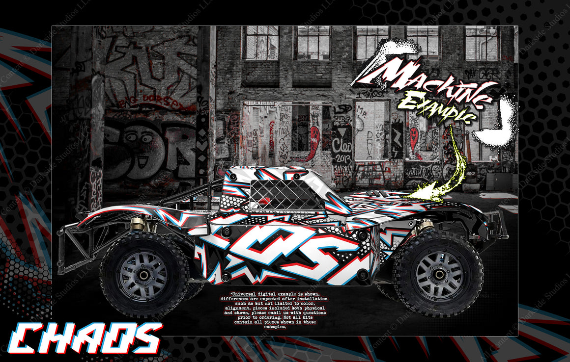 LOSI 5IVE-T / STOCK & 30° NORTH BIG FLEX (WHICH CAN FIT 2.0 CHASSIS AS WELL ) BODY WRAP DECAL HOP-UP CUSTOM KIT PARTS 'CHAOS' - Darkside Studio Arts LLC.