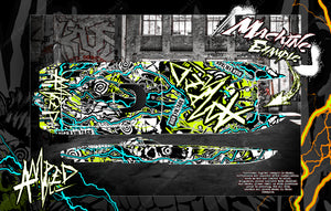 BOAT HULL CUSTOM WRAP DECAL GRAPHICS KIT 'AMPED' FOR TFL HOBBY ZONDA 1040mm - Darkside Studio Arts LLC.