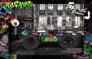 "ARRMA KRATON 8s / 6s GRAPHICS WRAP DECALS ""RUCKUS"" HOP-UP FITS STOCK LEXAN BODY - Darkside Studio Arts LLC."