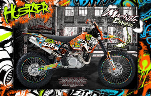 'HUSTLER' GRAPHIC DECALS WRAP SKIN KIT FITS KTM DIRT BIKE 1998-2006 SX SXF 250 300 450 525 - Darkside Studio Arts LLC.