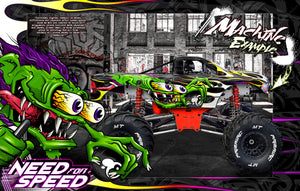 "PRIMAL RC RAMINATOR MONSTER TRUCK WRAP ""NEED FOR SPEED"" GRAPHICS HOP-UP DECAL KIT - Darkside Studio Arts LLC."