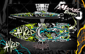 "PRO BOAT VELES IMPULSE SHOCKWAVE SONICWAKE 36"" ZELOS 36"" (MISS GEICO) BOAT CUSTOM WRAP DECAL GRAPHICS KIT 'AMPED' - Darkside Studio Arts LLC."
