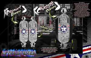 LOSI MONSTER TRUCK XL MTXL CHASSIS WRAP KIT 'AFTERBURNER' HOP UP DECALS FITS LOS251041 - Darkside Studio Arts LLC.