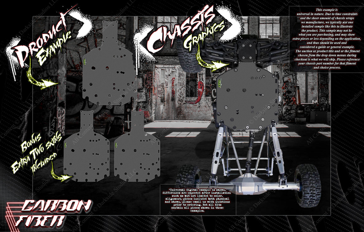 PRINTED 'CARBON FIBER' CHASSIS WRAP DECAL KIT FITS LOSI ROCK REY / BAJA REY 1/10 HOP-UP PROTECTION - Darkside Studio Arts LLC.