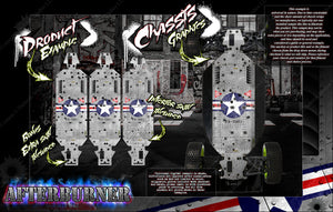 'AFTERBURNER' CHASSIS WRAP DECAL KIT FITS LOSI 5IVE-B 5IVE-T 5IVE-T 2.0 HOP-UP PROTECTION - Darkside Studio Arts LLC.