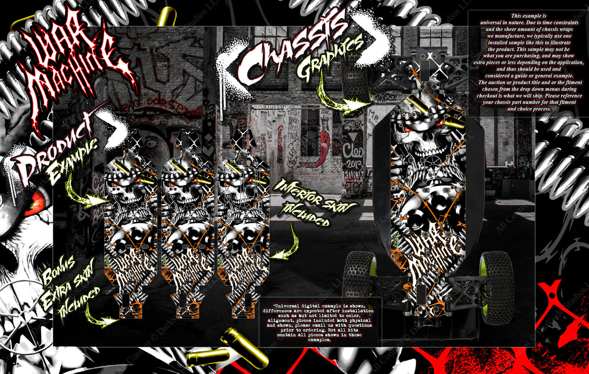 'WAR MACHINE' CHASSIS WRAP DECAL KIT FITS LOSI 5IVE-B 5IVE-T 5IVE-T 2.0 HOP-UP PROTECTION - Darkside Studio Arts LLC.