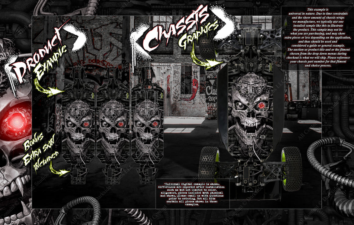 'MACHINEHEAD' CHASSIS WRAP DECAL KIT FITS LOSI 5IVE-B 5IVE-T 5IVE-T 2.0 HOP-UP PROTECTION - Darkside Studio Arts LLC.