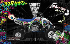 SUZUKI LTR450 LT500 QUADZILLA GRAPHICS WRAP 'RUCKUS' WITH CUSTOM COLOR CHOICE - Darkside Studio Arts LLC.