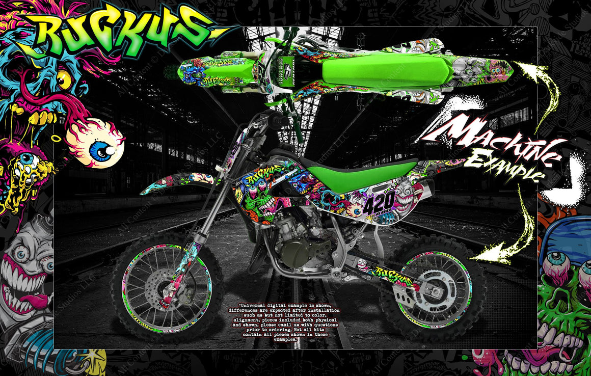 "KAWASAKI 1985-2020 KX60 KX65 GRAPHICS DECALS WRAP ""RUCKUS"" FOR OEM PLASTICS - Darkside Studio Arts LLC."