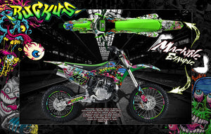"1994-2018 KX80 KX85 KX100 GRAPHICS DECALS WRAP ""RUCKUS"" FOR OEM PLASTICS - Darkside Studio Arts LLC."