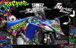 'RUCKUS' FULL COVERAGE GRAPHICS WRAP DECAL KIT FITS YAMAHA YFZ450 YFZ450R YFZ450X - Darkside Studio Arts LLC.