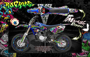 "1998-2009 YAMAHA YZF250 YZF450 ""RUCKUS"" NUMBER PLATE AND FENDER WRAP WITH RIM PROTECTOR GRAPHICS - Darkside Studio Arts LLC."