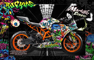 KTM 2014-2020 RC125 RC200 RC250 RC390 GRAPHICS WRAP 'RUCKUS' DECAL KIT - Darkside Studio Arts LLC.