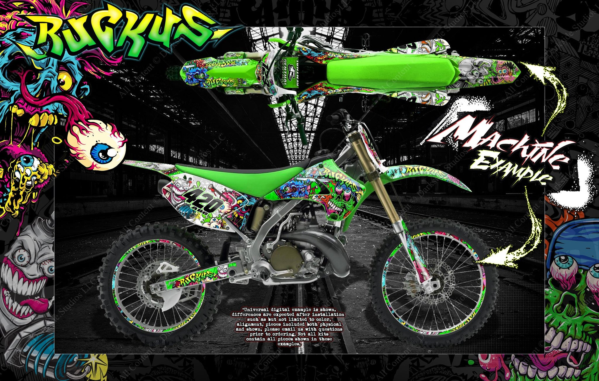 KAWASAKI 1985 KX125 SIDE COVER DECALS GRAPHICS STANDARD VERSION LIKE NOS
