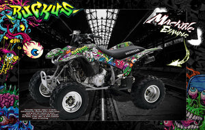 HONDA 1999-2019 TRX400EX GRAPHICS WRAP 'RUCKUS' FITS OEM FENDERS AND PARTS - Darkside Studio Arts LLC.