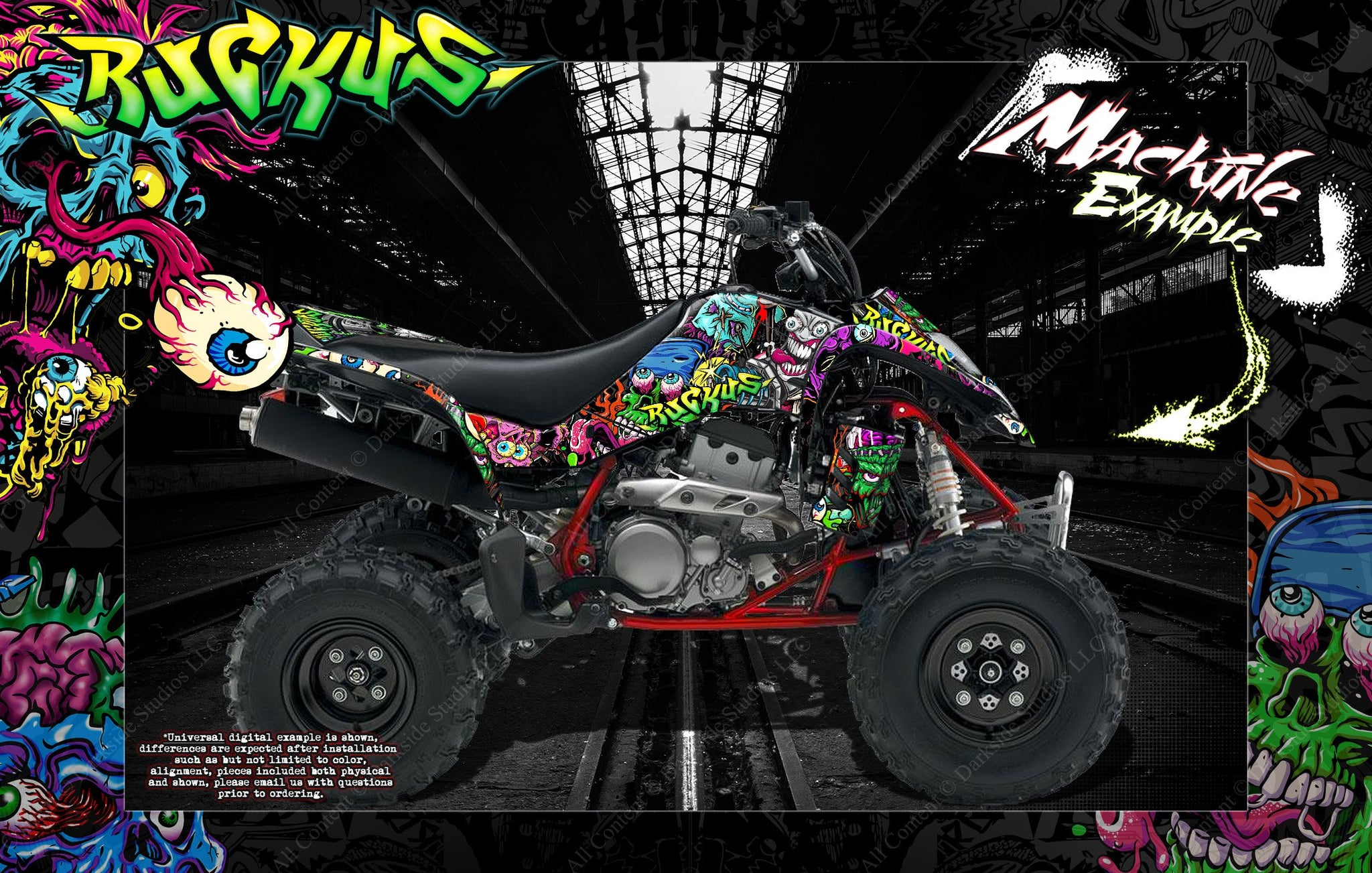 KAWASAKI KFX400 SUZUKI LTZ400 2003-2019 GRAPHICS WRAP 'RUCKUS' WITH CUSTOM  COLOR CHOICE