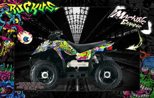 'RUCKUS' FULL COVERAGE GRAPHICS WRAP DECAL KIT FITS POLARIS OUTLAW 50 90 110 ATV - Darkside Studio Arts LLC.