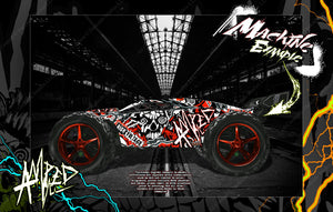 TRAXXAS E-REVO / E-REVO 2.0 / RUSTLER / RUSTLER 4x4 GRAPHICS WRAP 'AMPED' FOR OEM BODY PARTS - Darkside Studio Arts LLC.
