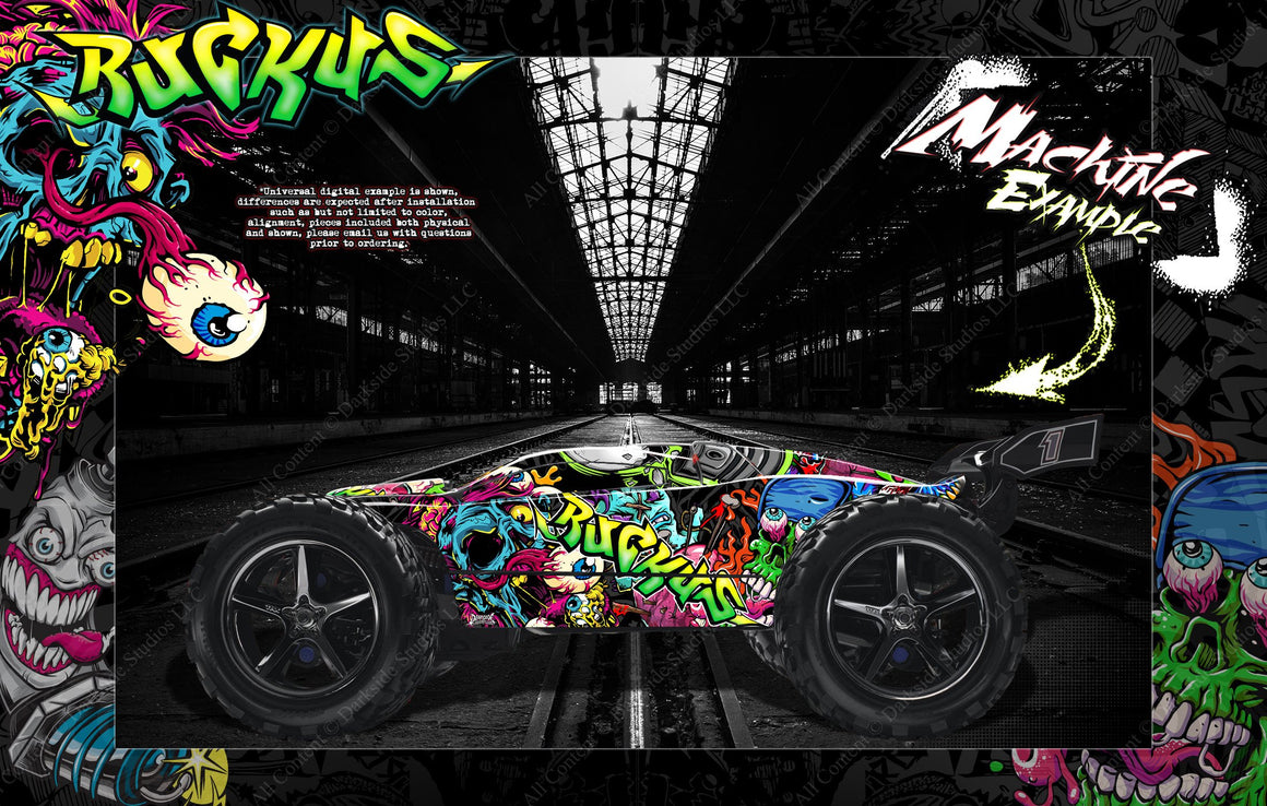 TRAXXAS E-REVO / E-REVO 2.0 / RUSTLER GRAPHICS WRAP 'RUCKUS' FOR OEM BODY PARTS - Darkside Studio Arts LLC.