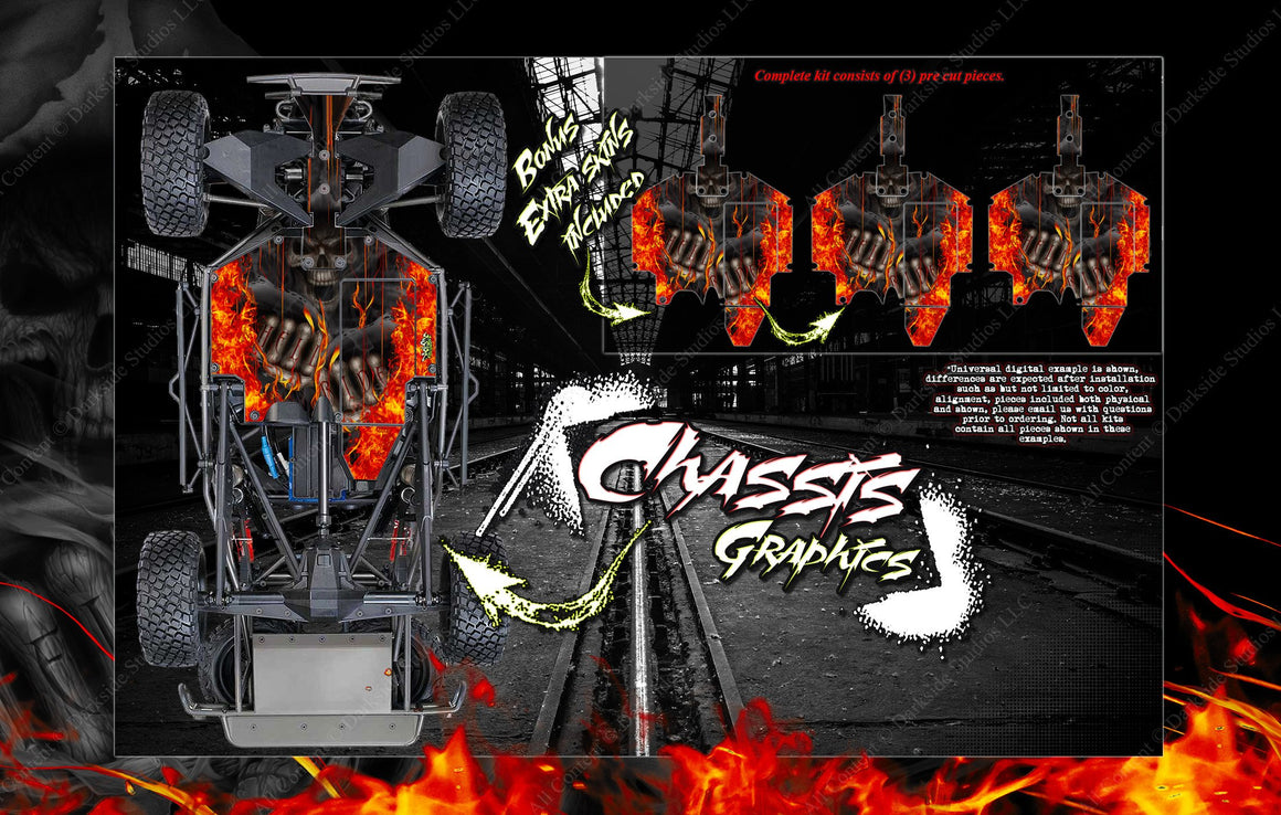 'HELL RIDE' CHASSIS WRAP FOR TRAXXAS UNLIMITED DESERT RACER HOP UP FITS TRA8521 - Darkside Studio Arts LLC.