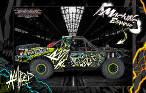 TRAXXAS UNLIMITED DESERT RACER BODY & CHASSIS SKIN WRAP DECAL KIT 'AMPED' - Darkside Studio Arts LLC.