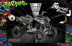 YAMAHA RAPTOR 350 GRAPHICS WRAP 'RUCKUS' FITS OEM AND MOST AFTERMARKET FENDERS AND PARTS - Darkside Studio Arts LLC.