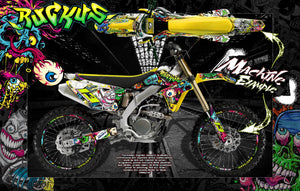 "SUZUKI RMX125 RMX250 GRAPHICS WRAP DECAL SKIN KIT ""RUCKUS"" - Darkside Studio Arts LLC."