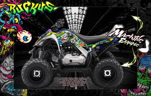 YAMAHA RAPTOR 125 RAPTOR 250 GRAPHICS WRAP 'RUCKUS' FITS OEM AND MOST AFTERMARKET FENDERS AND PARTS - Darkside Studio Arts LLC.