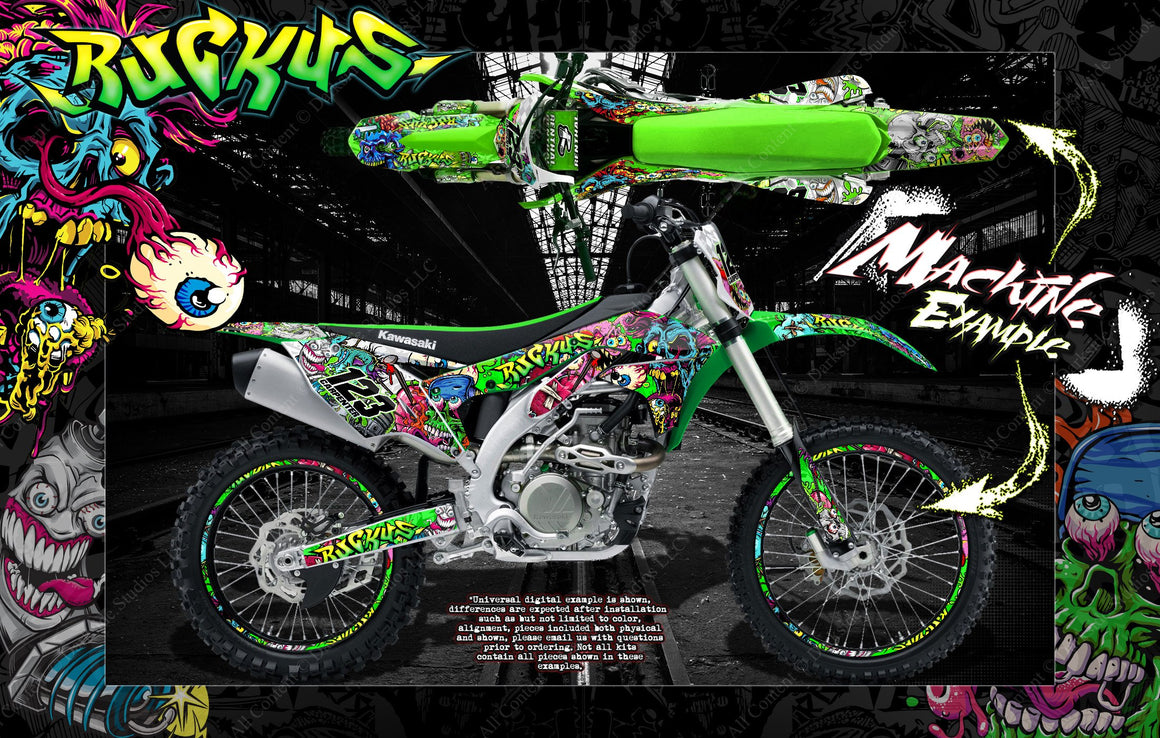 "KAWASAKI 2006-2018 KXF450 GRAPHICS DECALS WRAP ""RUCKUS"" FOR OEM PLASTICS - Darkside Studio Arts LLC."